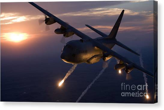 National Guard Canvas Print - A C-130 Hercules Releases Flares by HIGH-G Productions