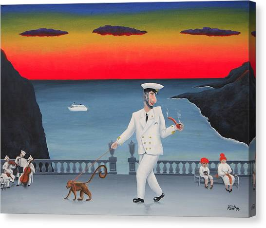 A Captain And His Monkey Canvas Print by Poul Costinsky