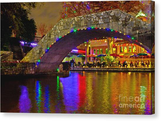 A Casa Rio Christmas On The Riverwalk Canvas Print
