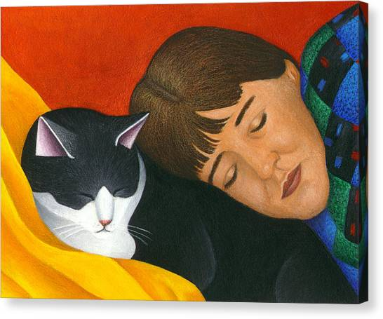 Cat Canvas Print - A Cat Is A Furry Pillow by Carol Wilson