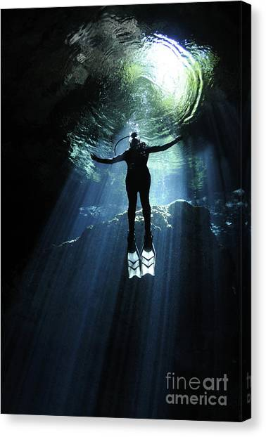 Spelunking Canvas Print - A Cavern Diver Ascends In The Cenote by Karen Doody