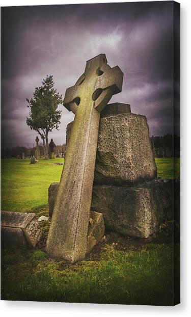 Celtic Art Canvas Print - A Celtic Cross In Glasgow Scotland by Carol Japp