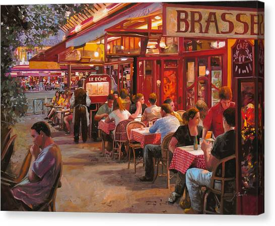 Cafes Canvas Print - A Cena In Estate by Guido Borelli