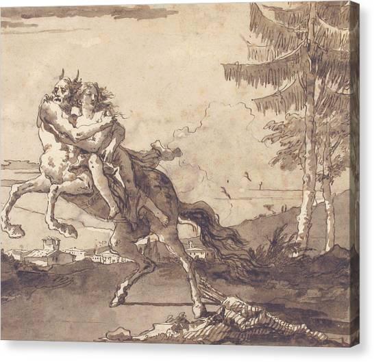 Centaurs Canvas Print - A Centaur Abducting A Nymph by Giovanni Domenico Tiepolo