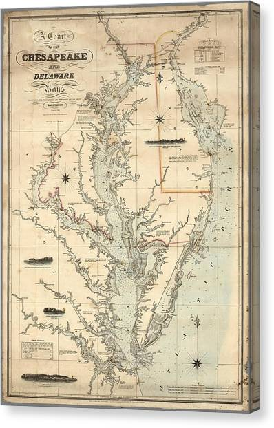 A Chart Of The Chesapeake And Delaware Bays 1862 Canvas Print