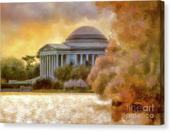 Jefferson Memorial Canvas Print - A Cherry Blossom Sunset by Lois Bryan