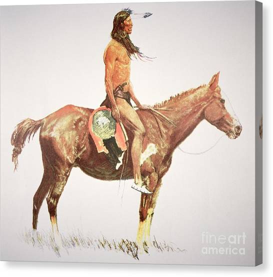 War Horse Canvas Print - A Cheyenne Brave by Frederic Remington