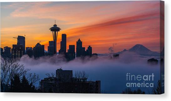 Seattle Skyline Canvas Print - A City Emerges by Mike Reid