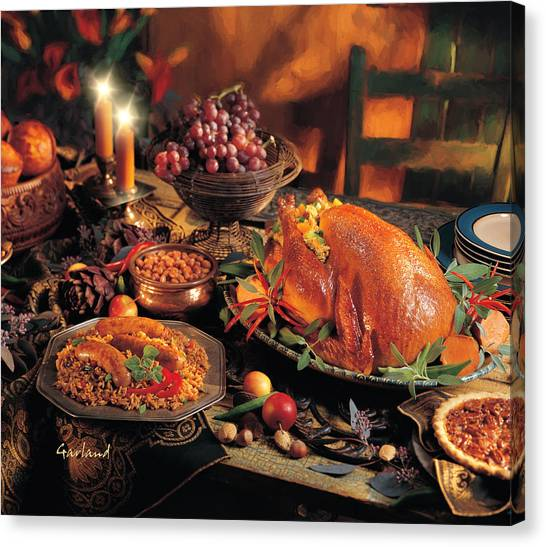 Turkey Dinner Canvas Print - A Classical Thanksgiving Dinner  by Garland Johnson