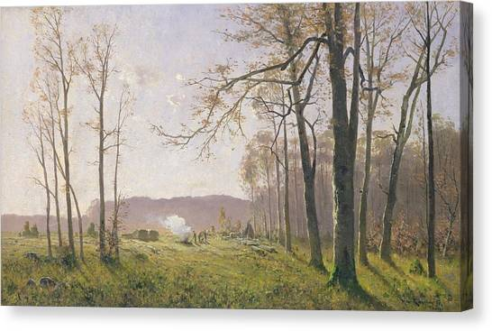 Woodsmen Canvas Print - A Clearing In An Autumnal Wood by Max Kuchel