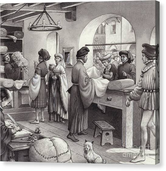 Clothing Store Canvas Print - A Cloth Merchant's Shop In Renaissance Italy by Pat Nicolle