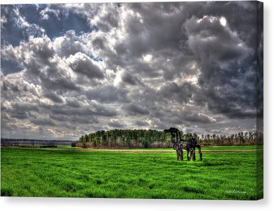 University Of Georgia Canvas Print - A Cloudy Day Winter Wheat The Iron Horse Art by Reid Callaway