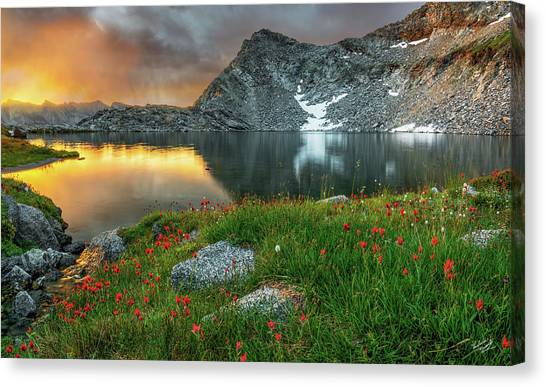 Light Paint Canvas Print - A Colorful Mountain Morning by Leland D Howard