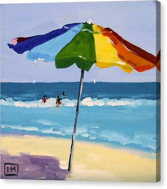 Beach Umbrellas Canvas Print - A Colorful Spot by Debbie Miller