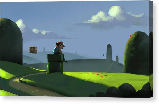 Super Mario Canvas Print - A Contemplative Plumber by Michael Myers