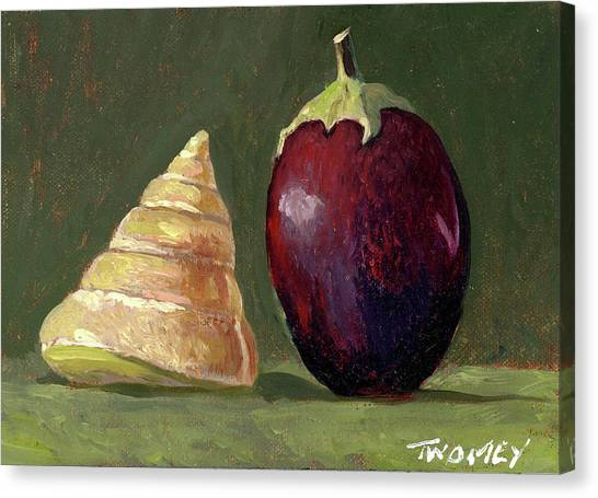 Eggplant Canvas Print - A Conversation, Eggplant Greeting Shell by Catherine Twomey