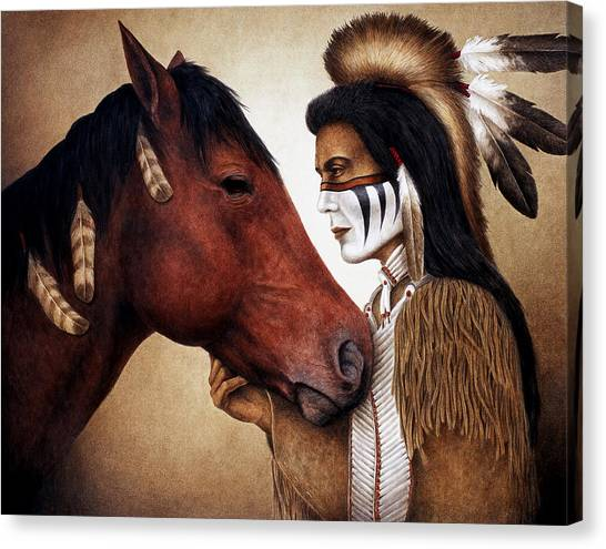 Indians Canvas Print - A Conversation by Pat Erickson
