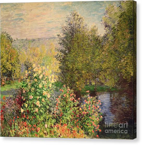 Coins Canvas Print - A Corner Of The Garden At Montgeron by Claude Monet