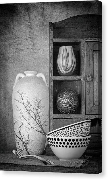 Black And White Art Canvas Print - A Corner Of The Kitchen by Tom Mc Nemar