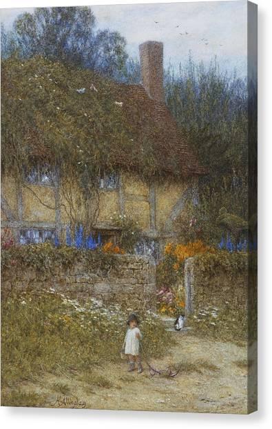 Victorian Garden Canvas Print - A Cottage Near Godalming Surrey by Helen Allingham
