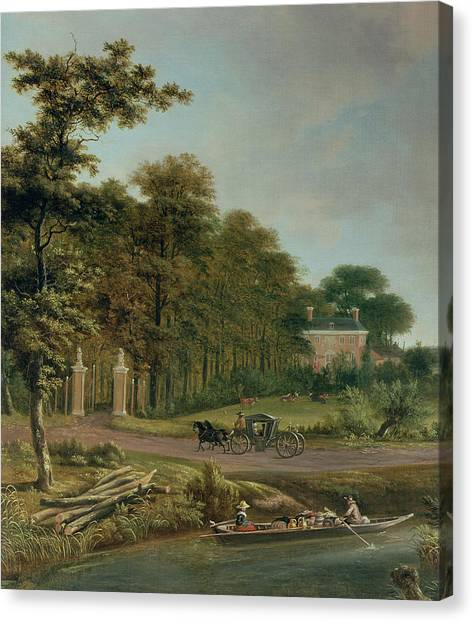 Country Scenes Canvas Print - A Country House by J Hackaert