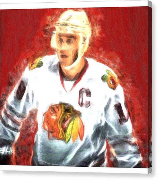 Hockey Canvas Print - A Creatively Edited Digitally Painted by David Haskett II