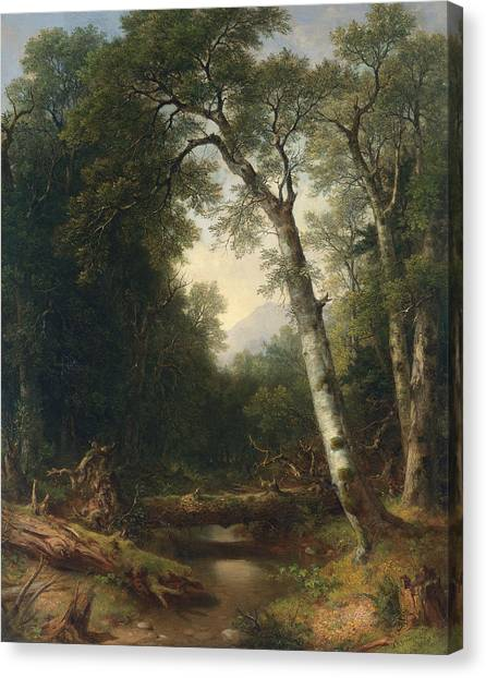 American Painters Canvas Print - A Creek In The Woods by Asher Brown Durand