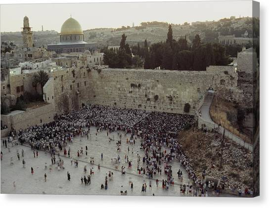 Israeli Canvas Print - A Crowd Gathers Before The Wailing Wall by James L. Stanfield