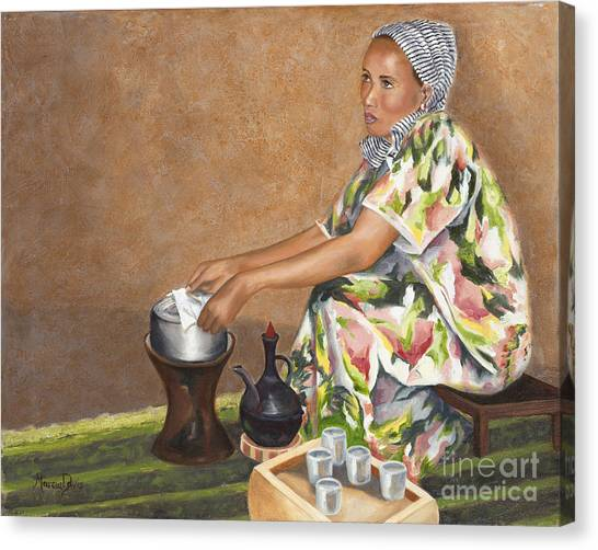 Ethiopian Woman Canvas Print - A Cup Full Of Grace by Marcia Davis