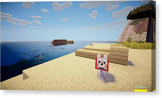 Minecraft Canvas Print - A Day At The Beach by Pro Blue