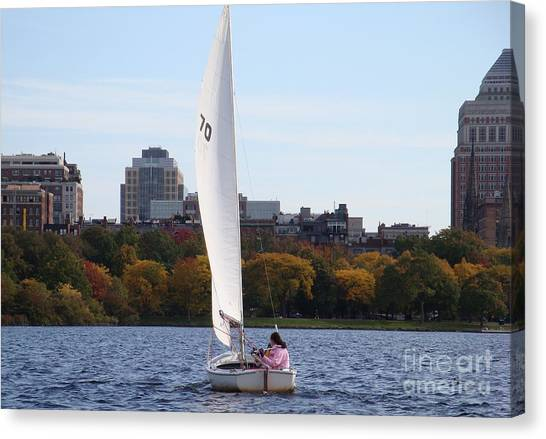 a day on the Charles Canvas Print by Robyn Leakey