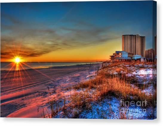A December Beach Sunset Canvas Print