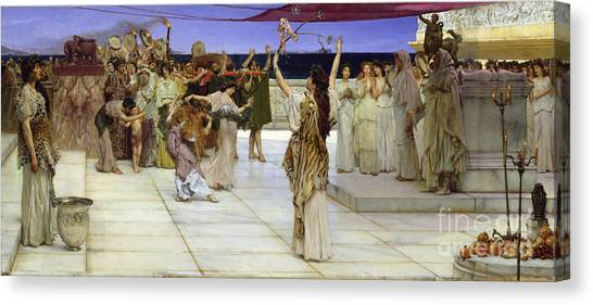 Tambourines Canvas Print - A Dedication To Bacchus by Sir Lawrence Alma Tadema