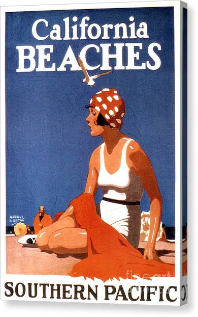 Vintage Canvas Print - California Beaches by Jon Neidert