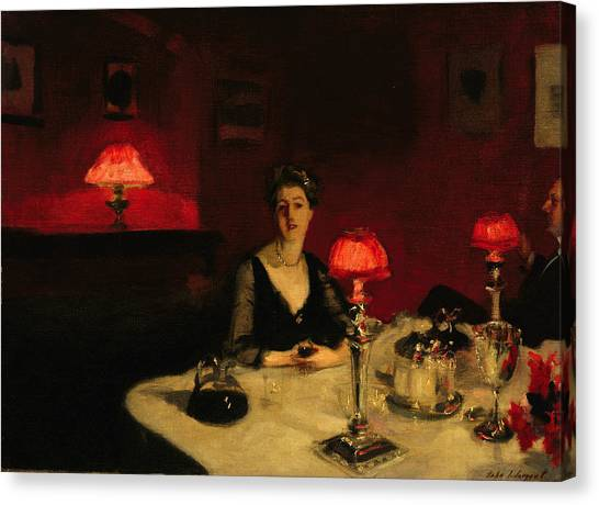 Dinner Table Canvas Print - A Dinner Table At Night by John Singer Sargent