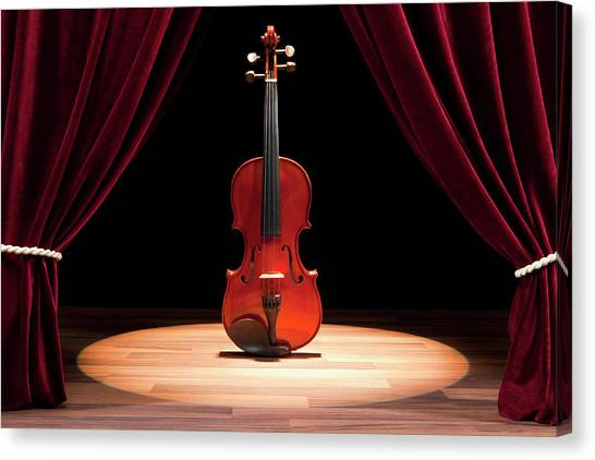 Anticipation Canvas Print - A Double Bass On A Theatre Stage by Caspar Benson