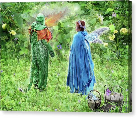 A Dragon Confides In A Fairy Canvas Print