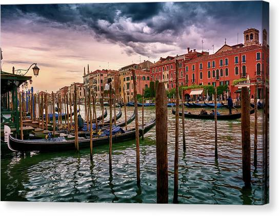 Vintage Buildings And Dramatic Sky, A Dreamlike Seascape In Venice Canvas Print
