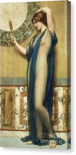 Sexuality Canvas Print - A Fair Reflection by John William Godward