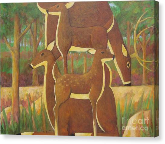A Family Of Deer Canvas Print by Glenn Quist