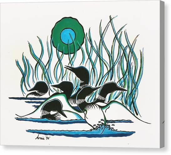 Loons Canvas Print - A Family Of Loons by Arnold Isbister