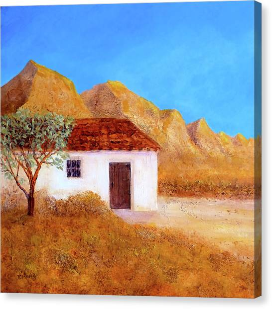 Canvas Print featuring the painting A Finca In Spain by Valerie Anne Kelly