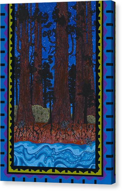Canvas Print featuring the painting A Forest Whispers by Chholing Taha