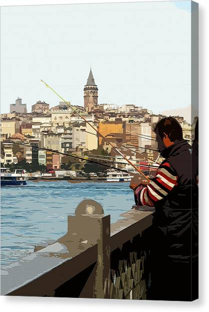 A Fisherman In Istanbul Canvas Print