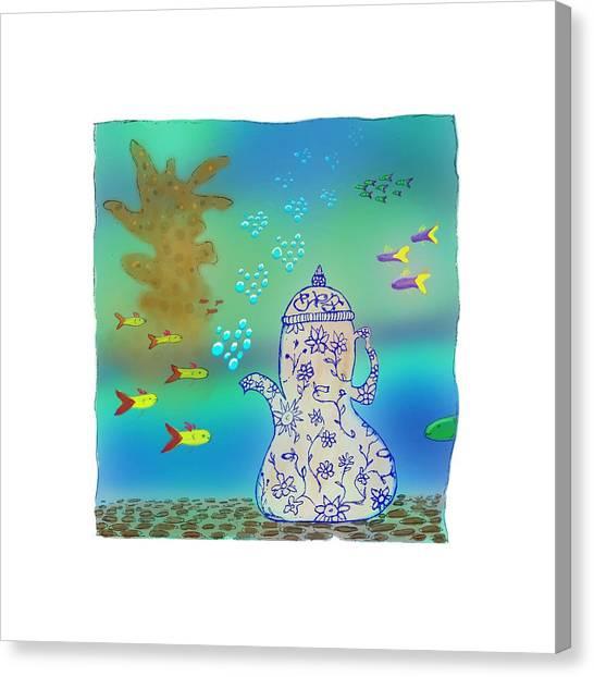 A Fishy Tea Pot Canvas Print