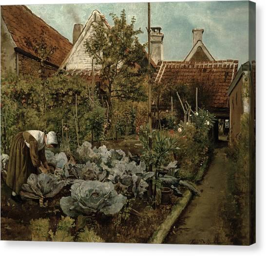 Vegetable Garden Canvas Print - A Flemish Garden by Henri de Braekeleer