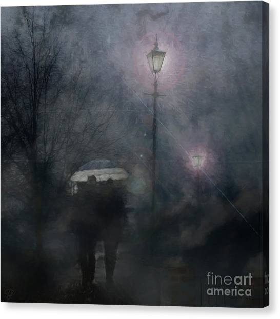 A Foggy Night Romance Canvas Print