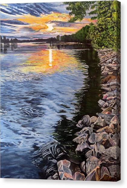A Fraser River Sunset Canvas Print