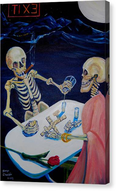 A Friendly Game Of Bones Canvas Print by George Chacon