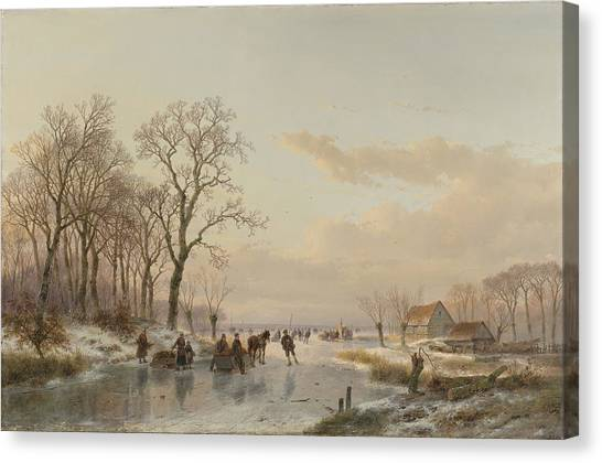 Rijksmuseum Canvas Print - A Frozen Waterway Near The Maas, C. 1867 by Andreas Schelfhout